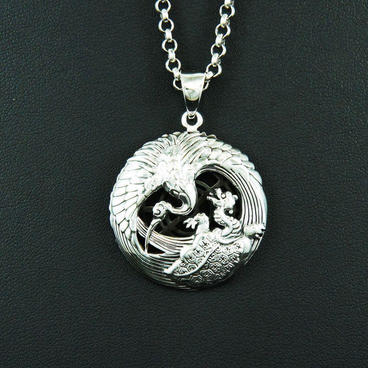 27 best japanese motive pendant images on pinterest sterling japanese crane tortoise medallion 925 sterling silver biker pendant gb 075 aloadofball Gallery