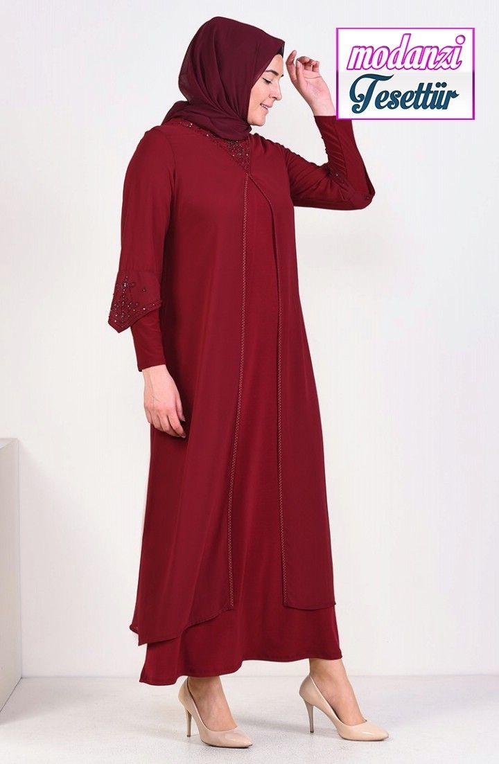 Sefamerve Buyuk Beden Abiye 2020 Buyuk Beden Tasbaskili Abiye Elbise 6184 02 Bordo 2020 Moda Stilleri Elbise Elbise Modelleri