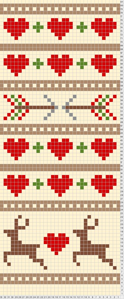 Renos y corazones para punto de cruz. Could be used for a crochet chart.