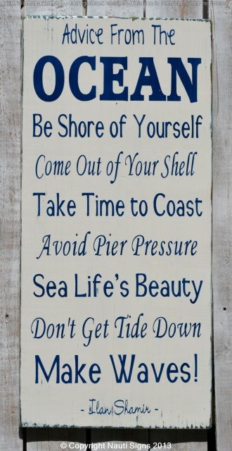 Wood Sign, Advice From The Ocean Larger Hand Painted Wooden Plaque, Beach Decor, Beach Theme, Beach Quotes and Sayings, Nautical Décor, Coastal Rustic Nauti Wood Signs www.nautiwoodsigns.com