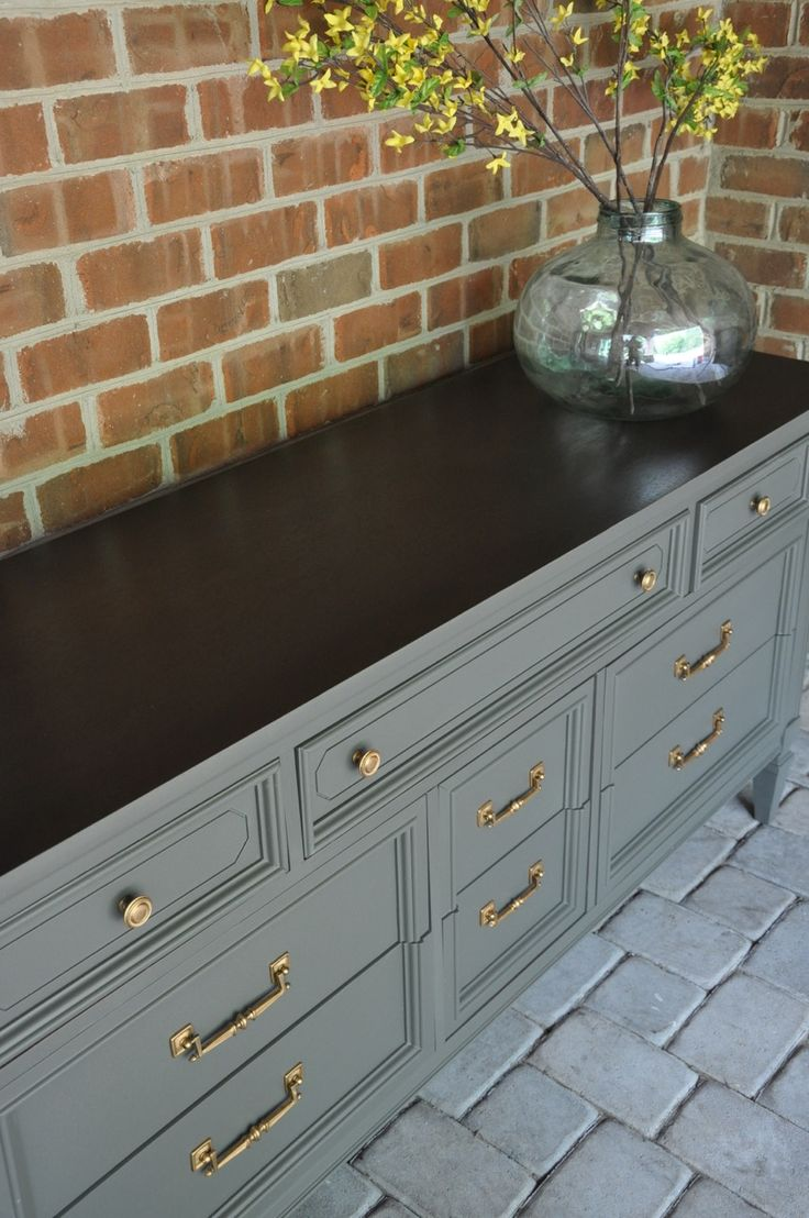 A long dresser/ credenza for entry? this greeny grey will look awesome with my blues...