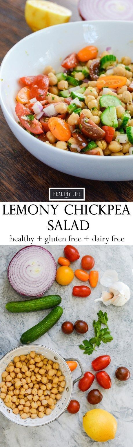 This Lemony Chickpea Salad features bright colors and equally bright flavors.  A hearty recipe that is quick to assemble and loaded with healthy ingredients.  This is a diary free recipe making it a perfect choice to bring to your next barbecue. Gluten Fr