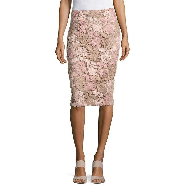 Calvin Klein Lace-Trimmed Pencil Skirt ($97) ❤ liked on Polyvore featuring skirts, latte, lace skirt, floral print skirt, floral lace skirt, floral-print pencil skirts and lace trim skirt