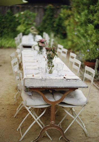 ♕ gorgeous French table and outdoor setting ~ photo by Elizabeth Messina