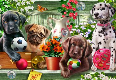 Garden Puppies Kid's Jigsaw Puzzle | Kid's Puzzles | Vermont Christmas Co. VT Holiday Gift Shop