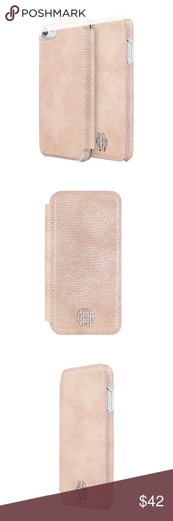 house of harlow // iPhone 7/8 folio case NWT House of Harlow 1960 pale pink/salmon and silver leather folio case. Gold metallic accent. Stylish raised silver metal logo at back. Soft microsuede interior with 2 credit card/ID slots. House of Harlow 1960 Accessories Phone Cases