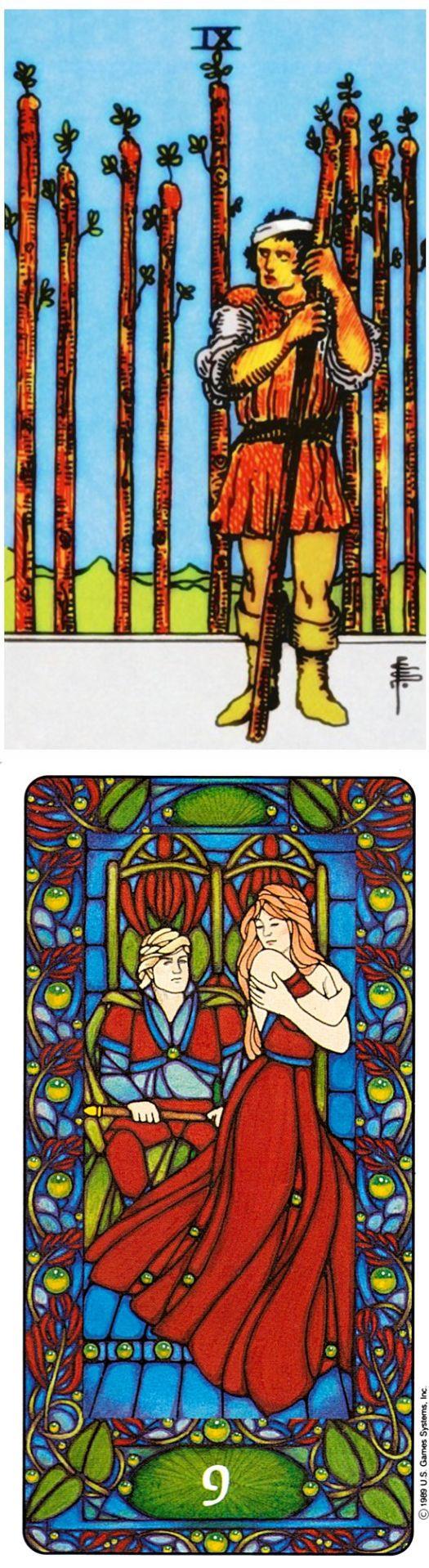 Nine of Wands: pushing forward and burnout (reverse). Rider Tarot deck and Matt Meyers Tarot deck: terra cards, universal waitetarotdeck vs lotus tarot reading. The best magic and lenormand decks. #ghost #tarotdecks #pentagram #magic