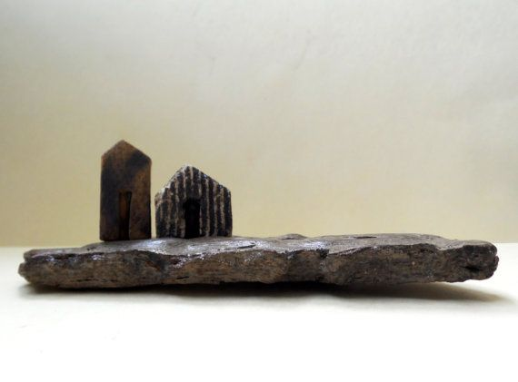 Miniature houses ceramic houses on textured driftwood by ednapio, $25.00