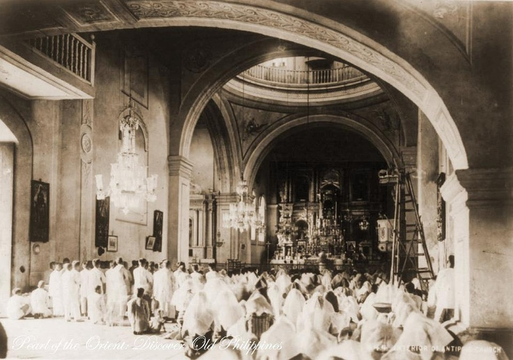 INTERIOR OF ANTIPOLO CHURCH, PHILIPPINES [circa 1900]  Photographic Image from Arthur Stanley Riggs Collection