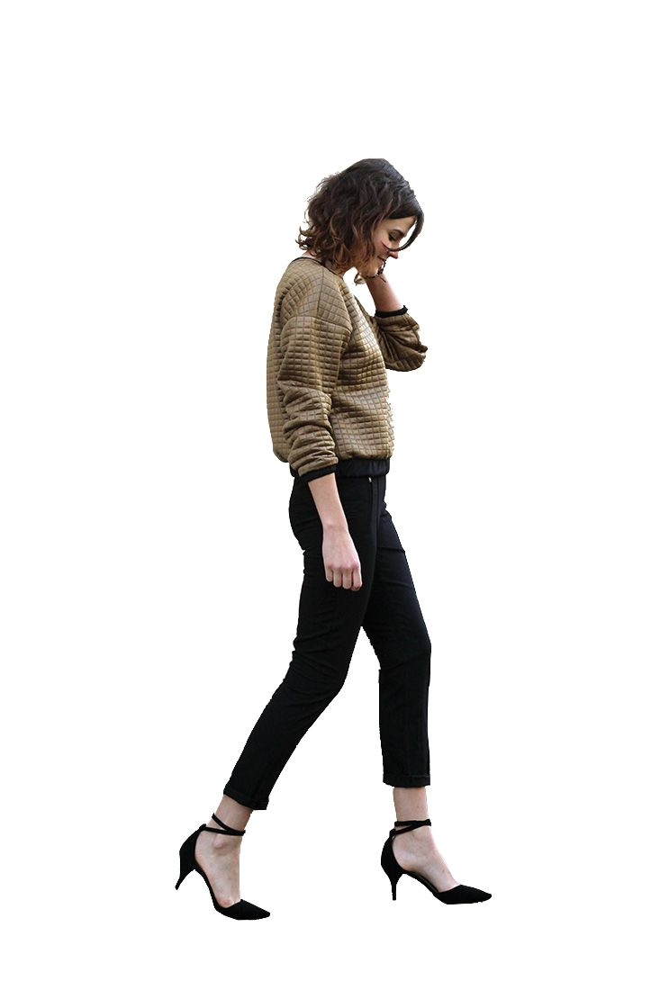 Woman walking cutout