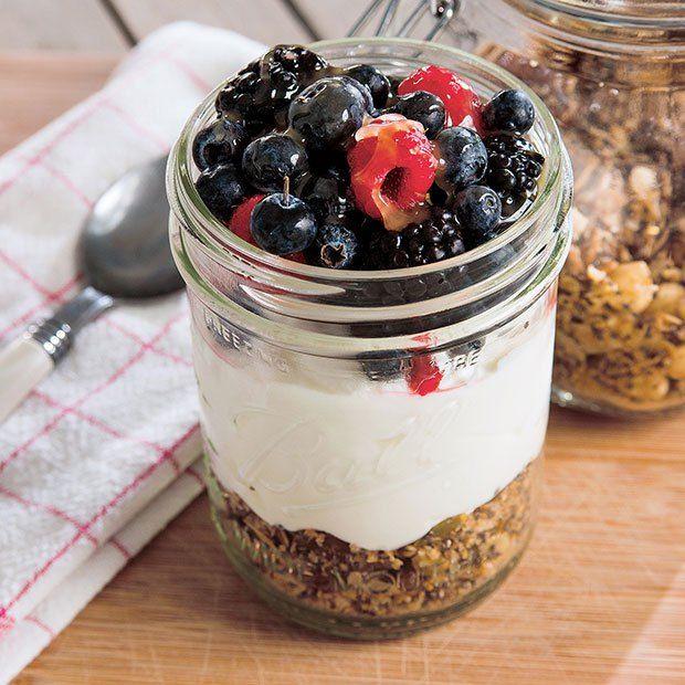 "Yoga Girl granola in a jar: Yogi Rachel Brathen's fave breakfast—homemade granola, yogurt, and berries (or as she calls it, ""heaven in a jar"")—is a yummy way to start."