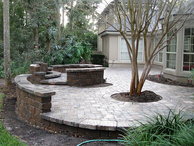 PATIO SEATING IDEAS Brick Paver Patio Custom Firepit Retaining