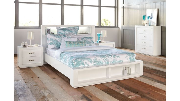 Summit Queen Bookend Bed Frame By Stoke, White Lacquer Bedroom Furniture Nz