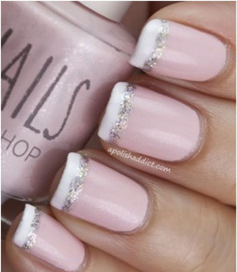 French Tip With Glitter Stripe - Manicure