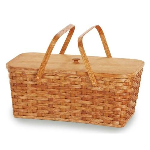 An American classic picnic basket by Picnic Plus. Place your food, perishables, or homemade pies in the bottom of the basket and secure them in place with the wooden divider on top. With plenty of room still left in the top half for food and picnic supplies above the divider.