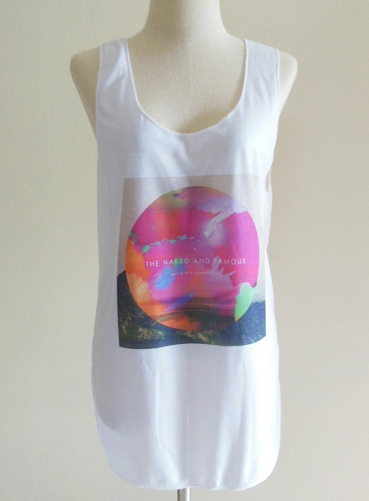The Naked And Famous Shirt New Zealand Post Punk Revival Band -- Women Tank Top Tunic Top Women Vest Sleeveless White T-Shirt Size S , M. $15.99, via Etsy.