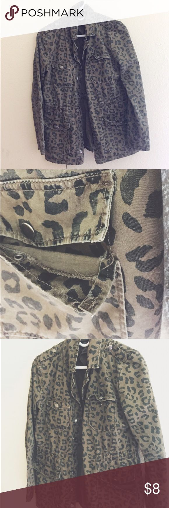 Leopard print olive green jacket Super cute. Only damage is the pocket that I took a picture of. Light jacket perfect for fall! Forever 21 Jackets & Coats Utility Jackets