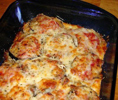 Baked Eggplant with Tomato, Mozzarella, and Parmesan Cheese