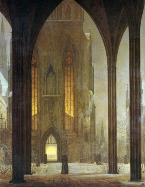 """Cathedral in Winter"" by Caspar David Friedrich  http://johnpirilloauthor.blogspot.com/"