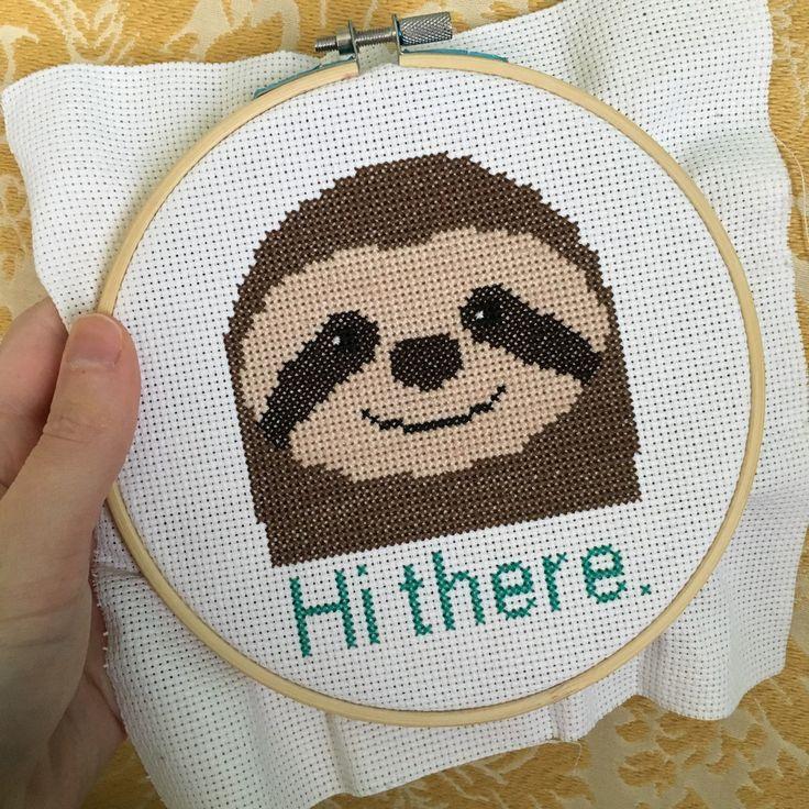 I'm having fun stitching my own pattern! Sloths rule :) Sloth cross stitch pattern