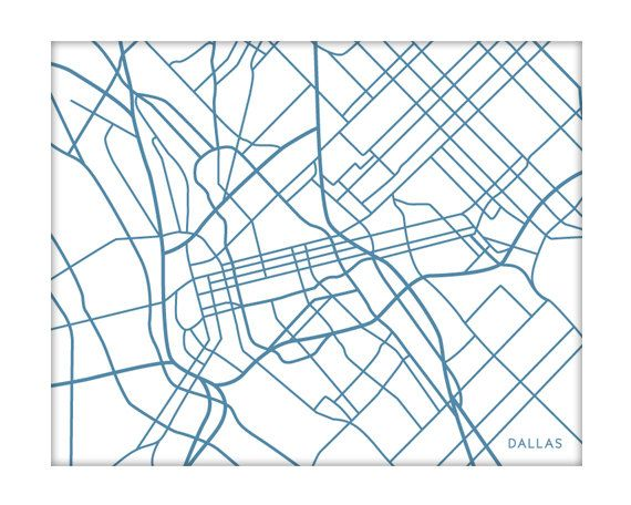 Dallas City Map Art Print / Choose your color by jennasuemaps, $18.00 / @Alison * AlisonByDesign - Perhaps this plus the LA and Pasadena maps for Stephen's room? So many colors to choose from!