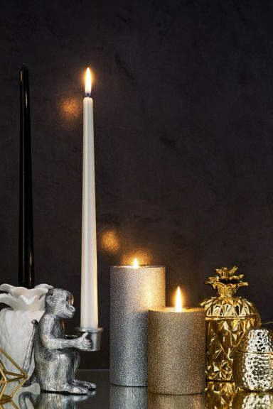 Large pillar candle - Silver/Glittery - Home All | H&M 1