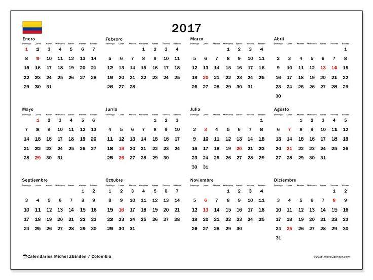 """Calendario 2017 """"Días festivos ColombiaGregorius"""" de Michel Zbinden (Colombia)"""