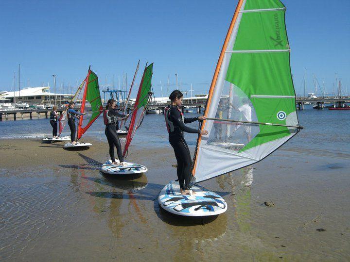 enjoying windsurfing