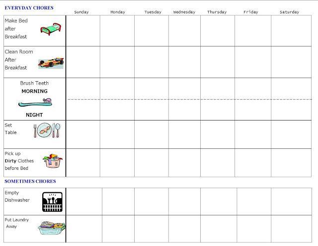 The  Best Preschool Chore Charts Ideas On   Preschool