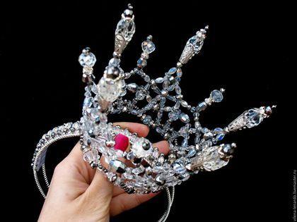 """Wedding crown / Свадебные украшения ручной работы. Ярмарка Мастеров - ручная работа. Купить Корона из хрусталя """"Ледяная искра"""". Handmade. Белый"""
