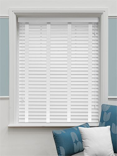 Satin Pure White Wooden Venetian Blinds - Utility Room