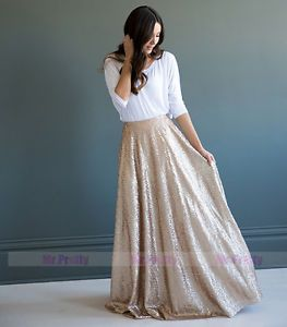 Gold Sequin long Skirts/Wedding Party Formal Holiday Full Maxi Skirt Plus Size