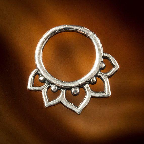 LOTUS FLOWER 1.6mm ( 14g )  silver septum ring for pierced nose, lotus septum  (Code 25)