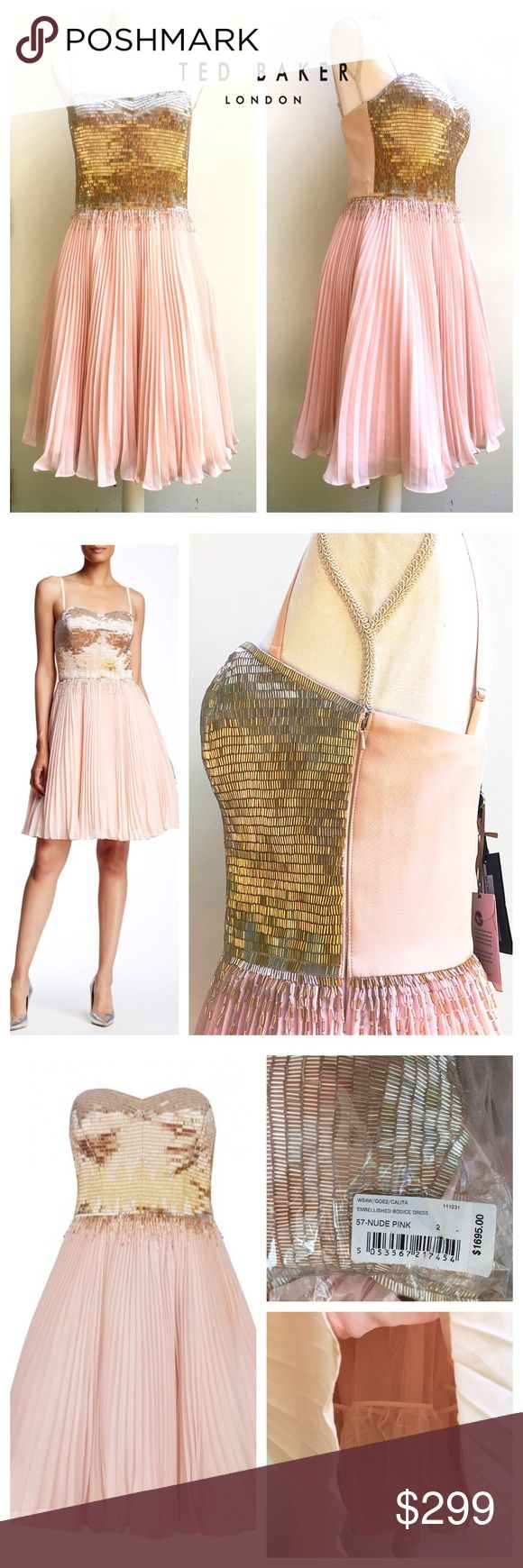 🚨SALE🚨Ted Baker Pink Silk Beaded Dress, 2 NWT Calita Embellished Silk Dress Nude Pink sz 2= US 6. 🎀sizes 4,6,8 available. Strapless style features glistening beading across the bodice, with a degrade effect as it falls into the soft, billowing skirt. A true style investment Ted Baker's TUX collection Women's embellished evening dress Fully boned structured bodice Pleated chiffon skirt Hand embellished with glass bugle beads  side zip fastening Comes with removable straps Fabric Content…