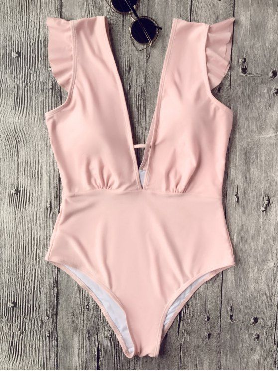 Ruffles Plunging Neck One Piece Swimsuit