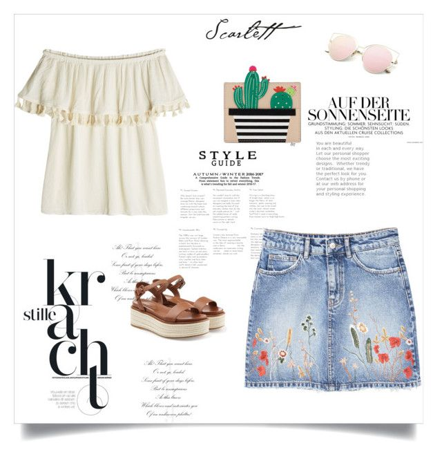 """EMbroidered denim skirt"" by gabriela2105 on Polyvore featuring moda, Velvet, MANGO, Kate Spade y Sergio Rossi"