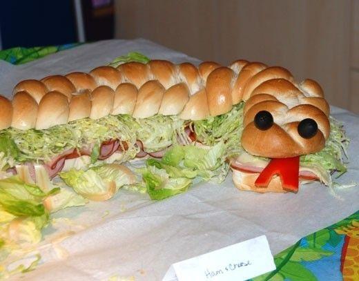 Awesome Snake Sandwich idea.