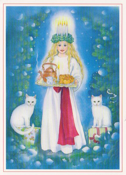 St. Lucia Day - Dec.13 .  ( the pre Julian date of the Winter Solstice)The white cats are probably a reminder of the carriage of Freya which was drawn by cats.