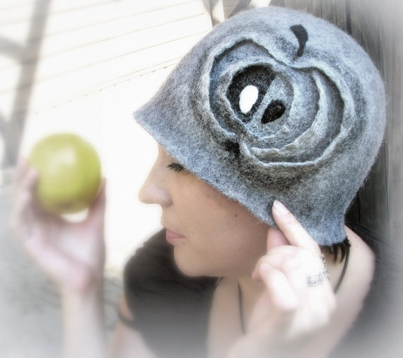 Hand felted hat Gray felt hat Apple by TTAccessories on Etsy
