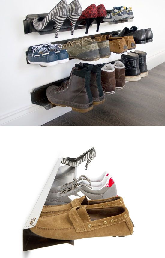 Floating Shoe Rack | 32 DIY Storage Ideas for Small Spaces | DIY Organization Ideas for Small Spaces