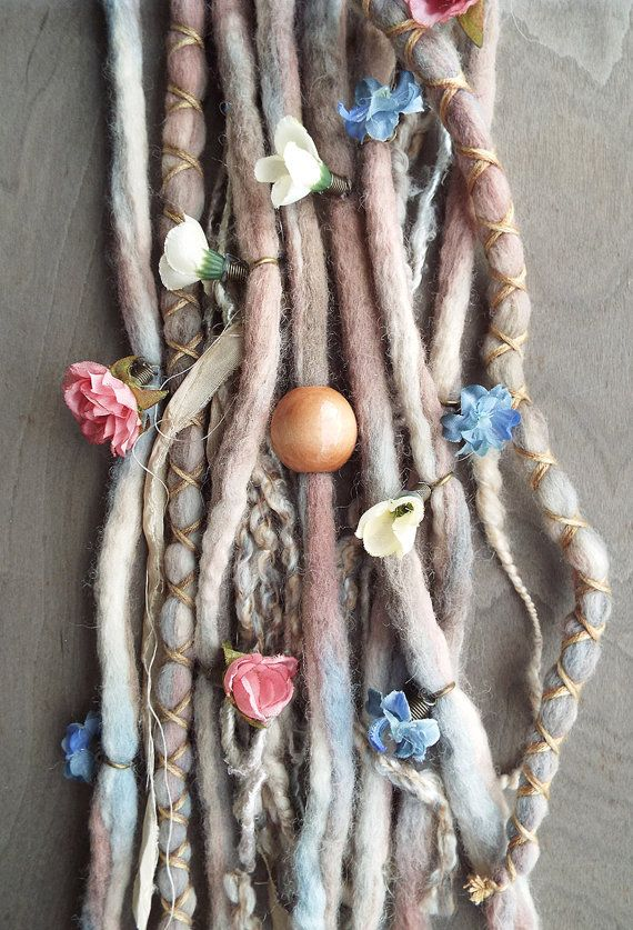 10pc TieDye Wool Flower Maiden Dreads with by PurpleFinchStore, $78.00