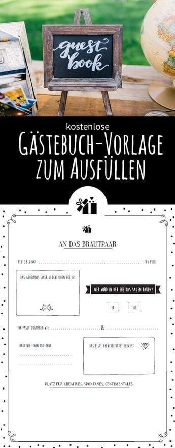 Tolle Gästebuch-Vorlage zum Ausfüllen – Gratis Download – # Gästebuchhochzei …