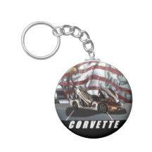 1997 Corvette Basic Round Button Keychain
