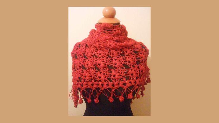 Πλεκτό τριγωνικό σάλι με puff και solomon - Triangular shawl made of solomon's knot and puff stitch - Free crochet pattern #Free #crochet #pattern