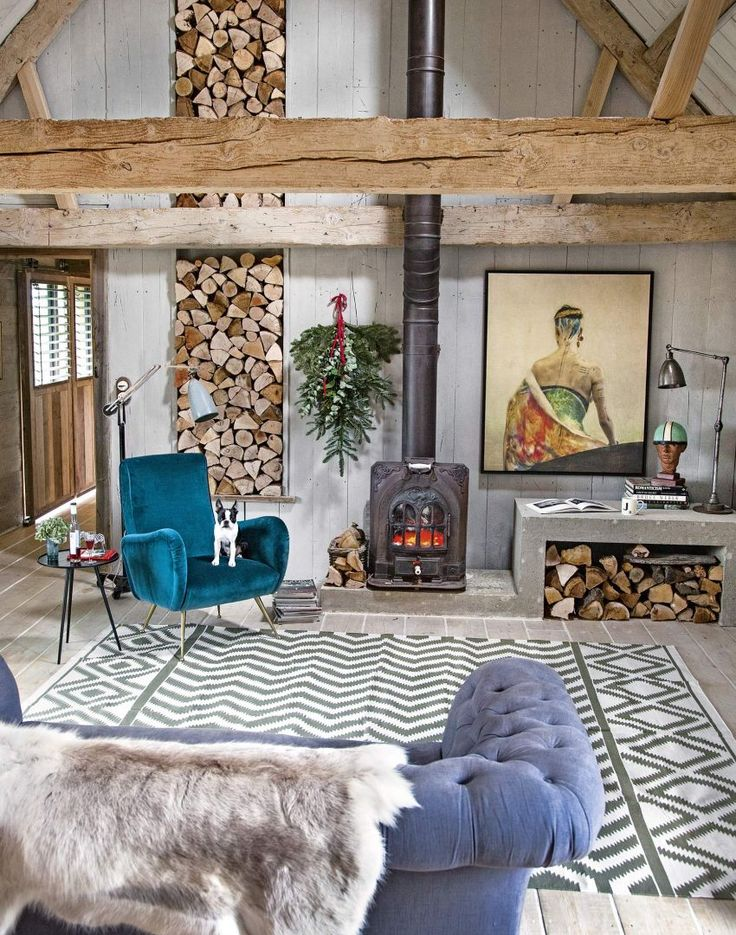 Modern Rustic Living Room With Stacked Wood Feature