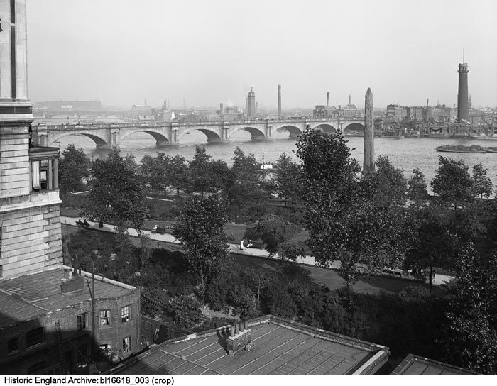 BL16618/003 A view east from the roof of the Adelphi Terrace, looking over Victoria Embankment Gardens and on towards Waterloo Bridge.  Please click for more details and to search our collections.