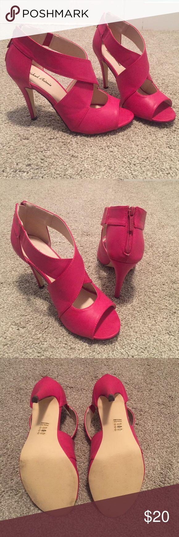 "Michael Antonio Pink Strappy Heels Bright pink strappy heels. Back zipper with a 4"" heel. Lightly worn. Michael Antonio Shoes Heels"