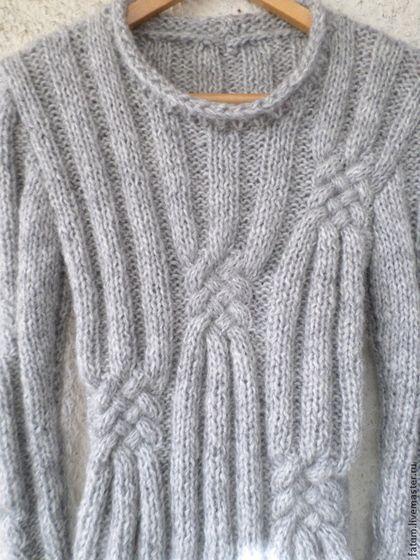 Купить или заказать Вязаный свитер Светло-серый Котик в интернет-магазине на Ярмарке Мастеров. Свитер связан из очень мягкой пряжи (40 % шерсти с мохером) нежного и благородного светло-серого цвета с эффектом меланжа. Сочетается хорошо с брюками и юбочками всех цветов, а также с джинсами. Свитер очень мягкий, нежный к коже и теплый. В нем Вы будете чувствовать себя комфортно и уютно :) Можно связать более высокий воротник. Спасибо большое Елене www.livemaster.