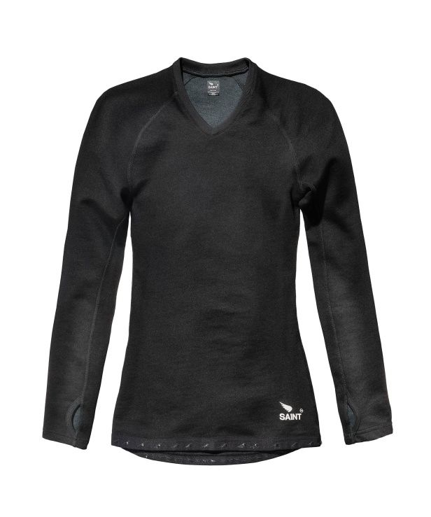 The Saint Long Sleeve 220gsm Baselayer perfectly blends the warmth of fine spun Australian Merino wool with the tough impact abrasion resistance and durability of Black Kevlar® Para Aramid double spun fibres. Constructed with a ladder proof knit, these long sleeve, first layer protection baselayers feel great on the skin and have a touch of elastane for the right stretch.  The Saint Kevlar® Merino Double-Knit Long Sleeve Baselayer is designed to be worn solo offering first layer protection.