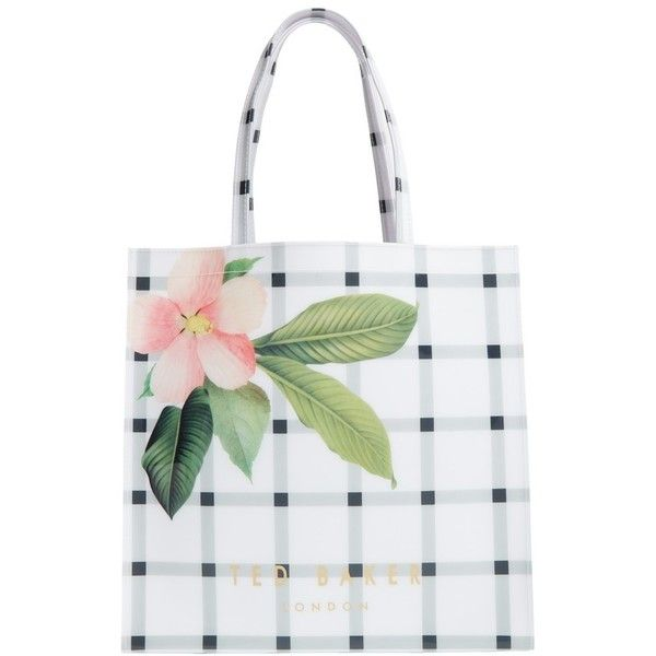 Ted Baker London 'Large Icon - Secret Trellis' Tote ($59) ❤ liked on Polyvore featuring bags, handbags, tote bags, cream, hand bags, tote purse, foldover tote, foldable tote and tote hand bags